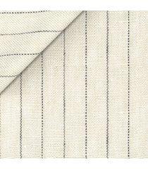 pantaloni da uomo su misura, lanificio subalpino, puro lino beige rigati, primavera estate | lanieri