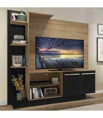 "estante c/ painel tv 55"" e 2 portas denver multimã³veis rustic/preto - marrom - dafiti"