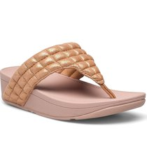 lulu padded shimmy suede toe-thongs shoes summer shoes flat sandals beige fitflop