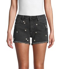 daisy-embroidered denim shorts