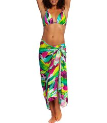 leaf-print pareo wrap skirt