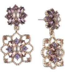 marchesa gold-tone crystal & imitation pearl cluster drop earrings