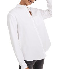 women's madewell side button oversize ex-boyfriend shirt, size x-small - white
