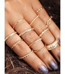 conjunto de anillo redondo de color dorado