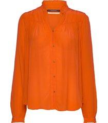 feminine shirt with pleated detailing overhemd met lange mouwen oranje scotch & soda