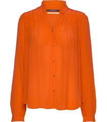 feminine shirt with pleated detailing overhemd met lange mouwen oranje scotch & soda