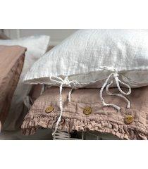 lniana poszewka na poduszkę z troczkami white