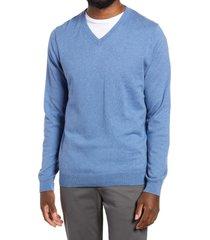 men's nordstrom men's shop cotton & cashmere v-neck sweater, size xx-large - blue