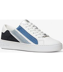 mk sneaker slade in pelle e denim a righe - optic white denim - michael kors