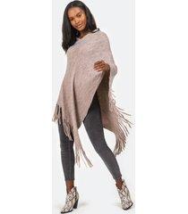sarah striped knit poncho - mauve