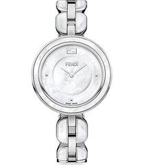 fendi my way stainless steel & mother-of-pearl bracelet watch