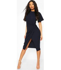 angel sleeve twist detail midi dress, navy