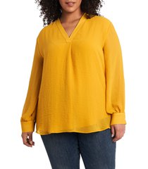 plus size women's vince camuto rumple fabric blouse, size 1x - yellow