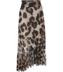 ganni printed mesh long skirt animalier w/belt