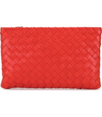 bottega veneta intrecciato zip-up pouch - red