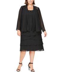 sl fashions plus size sequined dress & jacket