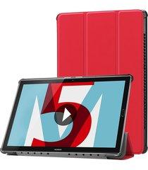 para huawei mediapad m5 10,8 pulgadas tri - fold custer textura flip horizontal pu cuero funda protectora con soporte (rojo)