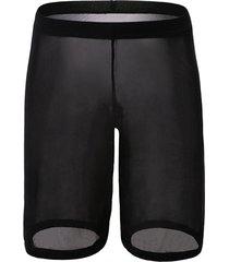 sexy plain pinhole mesh high waist shorts
