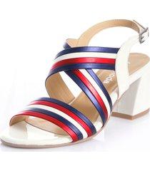 sandaletter alba moda vit::marinblå::röd