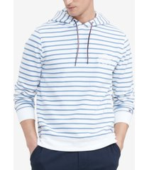 tommy hilfiger men's logo embroidered stripe french terry hoodie