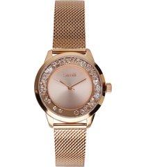 orologio da polso solo tempo 3h in acciaio e cristalli con cinturino in maglia gold rose per
