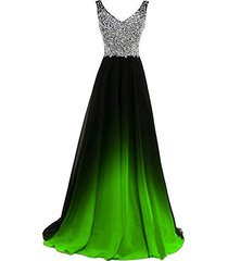 v neck black lime green gradient chiffon ombre long prom evening dress us 16