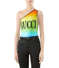women's gucci logo print rainbow one-piece swimsuit