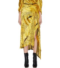 asymmetric drape feather motif skirt