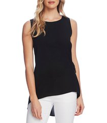 petite women's vince camuto side tie sleeveless high low blouse, size large p - black