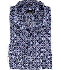 eterna overhemd mouwlenge 7 blauw print