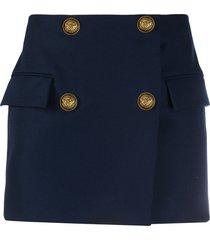 balmain double-breasted wool mini-skirt - blue