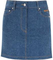 msgm denim mini skirt with logo bands