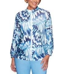 alfred dunner classics abstract butterfly printed jacket