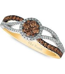 chocolatier vanilla diamonds, chocolate diamonds & 14k two-toned gold solitaire ring