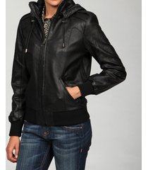 handmade women leather jacket, womens black hooded leather jacket, women jackets