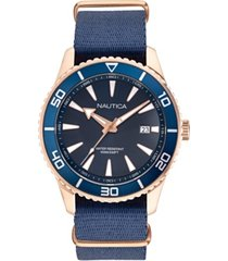 nautica men's pacific beach navy, rose gold fabric strap watch 44mm