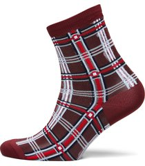 dagmar multi check sock lingerie socks footies/ankle socks röd becksöndergaard
