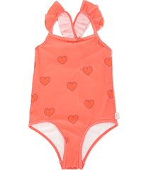 tiny cottons heart print ruffle swimsuit - red