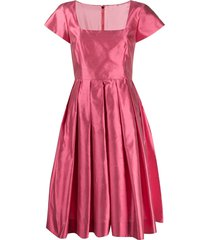 dolce & gabbana square neck pleated dress - pink