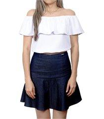 falda denim azul prizmma