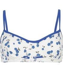 cherry print bikini top blue