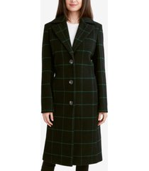 tahari london plaid single-breasted walker coat