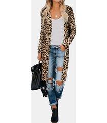 camicetta vintage lunghezza al ginocchio manica lunga stampa leopardo