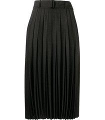 luisa cerano high-rise pleated midi skirt - black