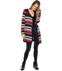 66bb3e69502728 casaco pink tricot longo tricô listrado feminino