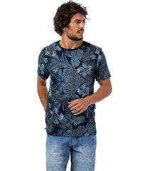 camiseta masculina floral tropical azul - azul - masculino - dafiti