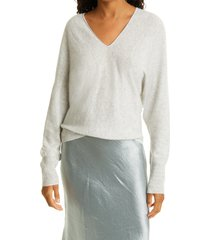 women's vince double v-neck sweater, size large - grey