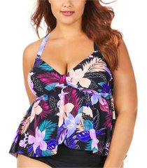 raisins curve trendy plus size juniors' lagide printed atlantic tankini top women's swimsuit