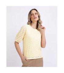 blusa em laise feminina manga curta bufante amarela