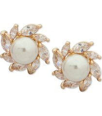 anne klein gold-tone crystal & imitation pearl e-z comfort clip-on halo stud earrings